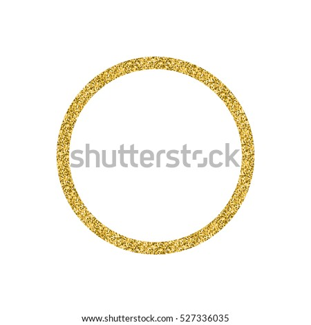 Golden Glitter Circle Shape Frame Isolated Stock
