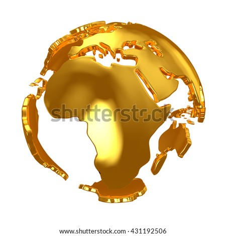 Golden Globe. Golden continents. 3d. 3d render - stock photo