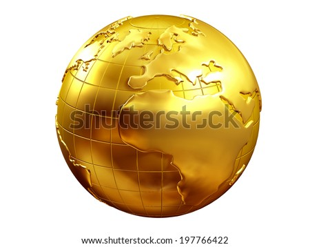 golden globe with view of europe and africa - stock photo
