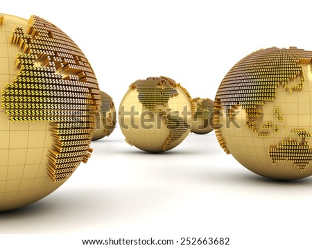Golden globes formed by dollar signs, 3d render, white background - stock photo