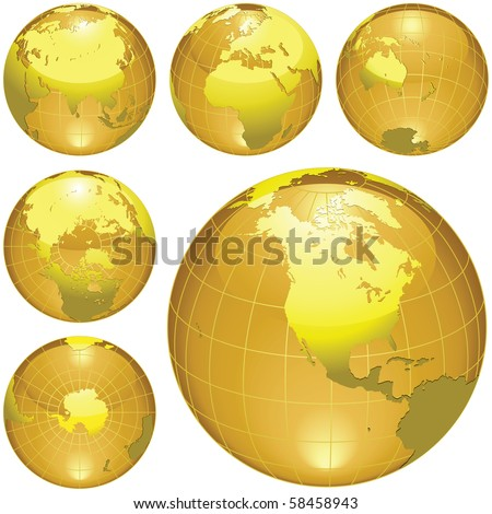 Golden globes isolated on white. traced from my original photography (Dated 8 May 2010, 5.34pm) as a base. - stock photo