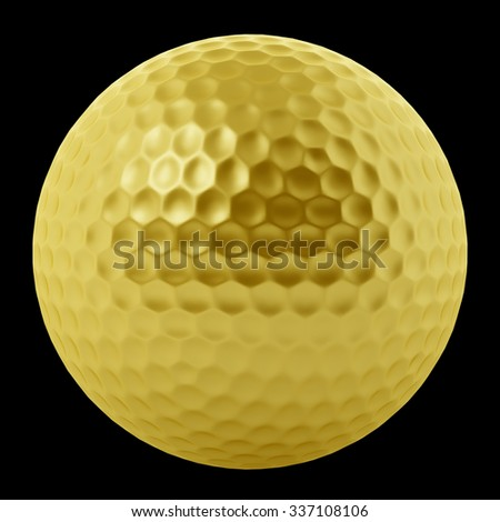 golden golf ball isolated on black background - stock photo