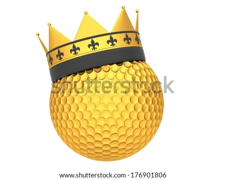 Golden golf ball with crown isolated on a white background - stock photo