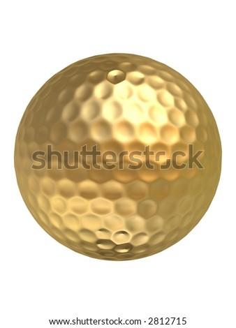 golden golfball - stock photo
