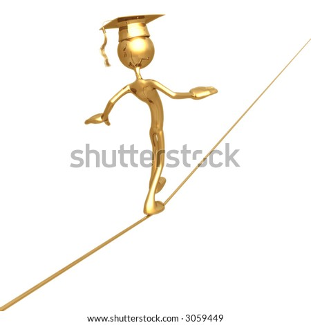 Golden Grad Tight Rope Walking Graduation Concept - stock photo