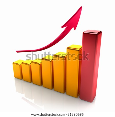 Golden graph with one red bar and arrow pointing upward, shine and reflection - stock photo