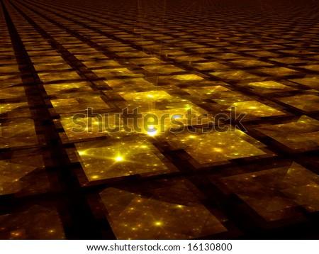 Golden Grid Hub - Fractal Illustration - stock photo
