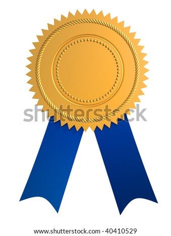 Golden guarantee seal with blue bow isolated on white - stock photo