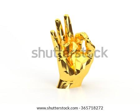 golden hand ok - stock photo
