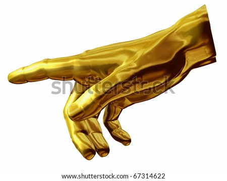 golden Hand with gesture of god out of the painting of Michelangelo, Sistine Chapel Rom - stock photo