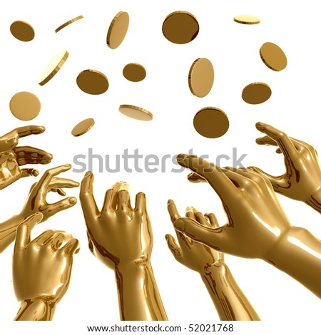 Golden hands catching coins rain 3d illustration - stock photo