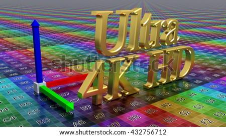 Golden HD icon, ultra high definition logo - stock photo