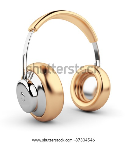 Golden headphones 3D. Icon. Isolated on white background - stock photo