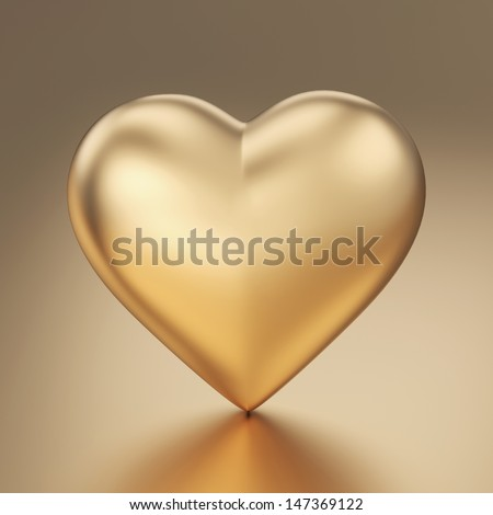 Golden heart 3d render isolated with clipping path - stock photo