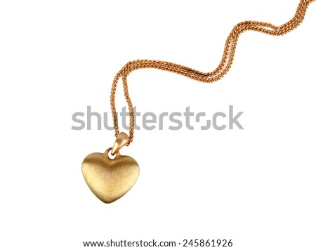 Golden heart pendant isolated on white - stock photo