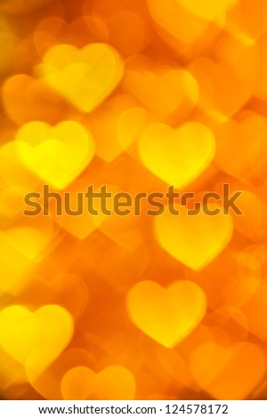 golden hearts background - stock photo