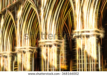 golden heavenly arches fractal illustration - stock photo
