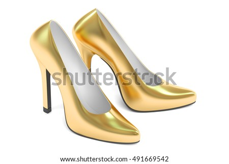 golden high heel shoes, 3D rendering isolated on white background