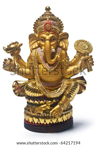 Golden Hindu God Ganesh, Clipping Path Included - stock photo
