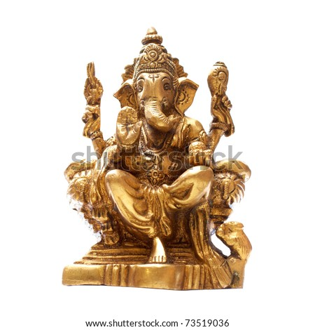 Golden Hindu God Ganesh over a white background - stock photo