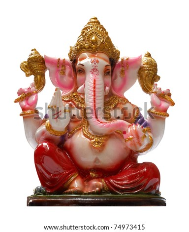 Golden Hindu God Ganesha over a white background - stock photo