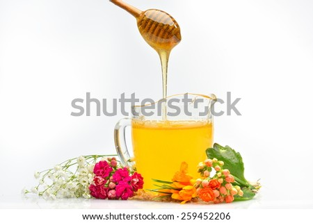 golden honey pouring from wooden stick - stock photo