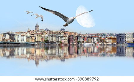 """Golden Horn against Galata tower, Istanbul, Turkey .""""Elements of this image furnished by NASA"""" - stock photo"""