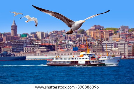 Golden Horn against Galata tower, Istanbul, Turkey (Galata Tower, ferry boat defocused) - stock photo