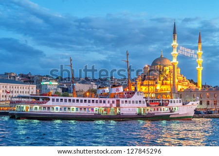 Golden Horn, Istanbul by night - stock photo