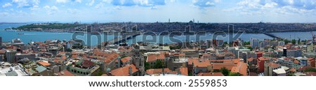 Golden Horn panoramic view from Galata tower, Istanbul