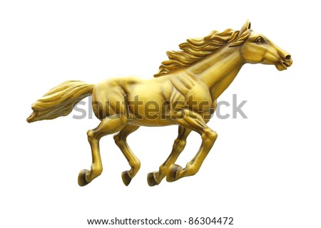 Golden horse statue isolated on white background - stock photo