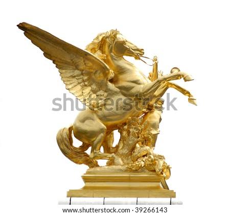 Golden horse statue on a paris bridge - stock photo