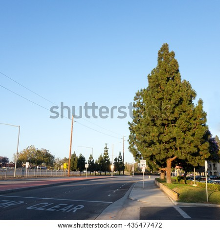 Golden Hour highlights of State Highway-101 and Ventura Boulevard in city of Camrillo, Ventura county, Southern California - stock photo