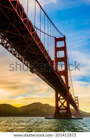 Golden hour of Golden Gate Bridge - stock photo