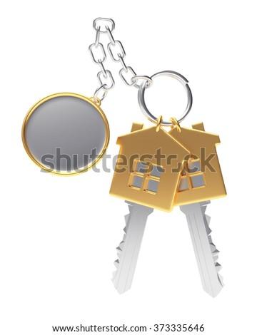 Golden house-shape keys with blank round key chain isolated on white background  - stock photo
