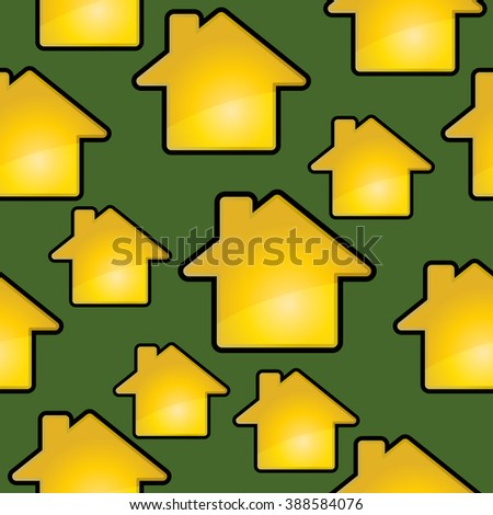Golden houses on a green. Seamless background.