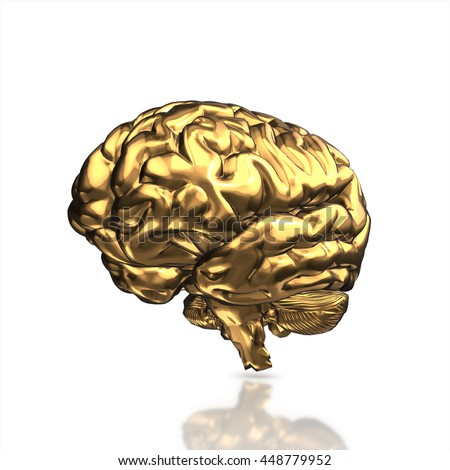 golden human brain isolated and white background.3d render.