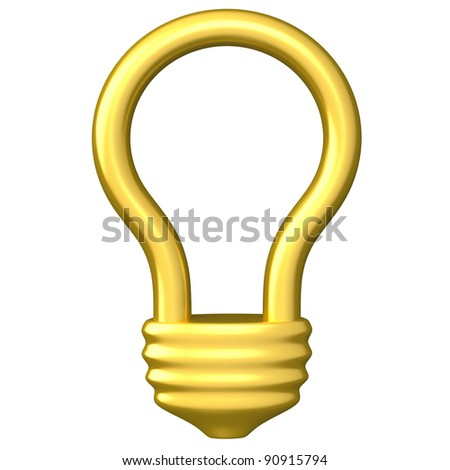 Golden idea light bulb icon 3d - stock photo