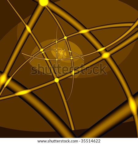 Golden infinity. Yellow crossed lines and dots on brown background. Computer-generated image