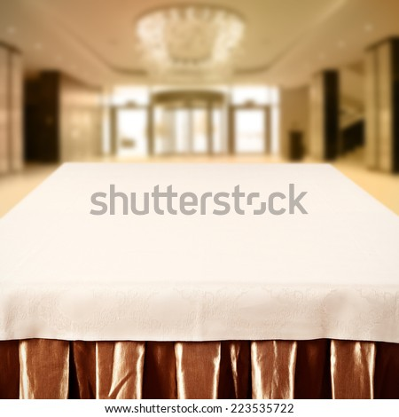 golden interior of hotel and table top for you  - stock photo