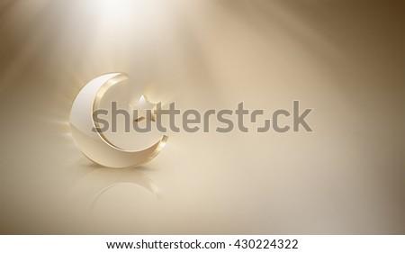 Golden Islamic crescent and star on light background, Ramadan Kareem design - stock photo