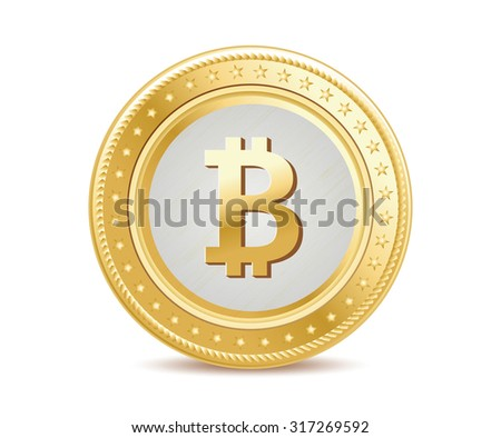 golden isolated bitcoin coin front view on the white background - stock photo