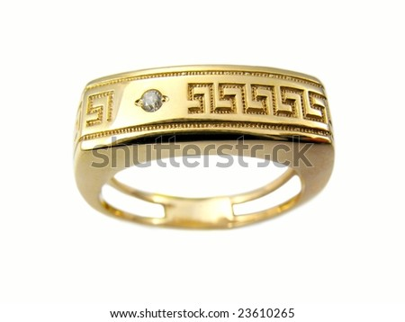 Golden jewelry isolated on a white background