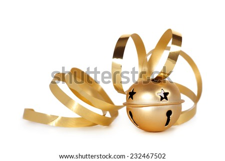 Golden jingle bell with curled ribbon - stock photo