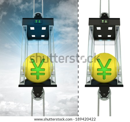 golden Juan coin in sky elevator concept also isolated one illustration - stock photo