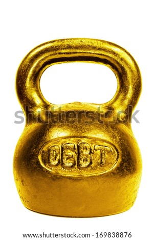Golden kettle bell with word debt isolated on white background - stock photo