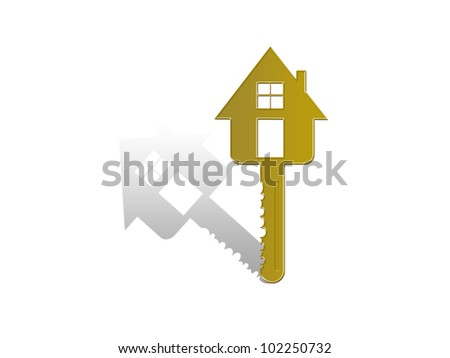 Golden key. - stock photo