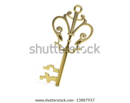 golden key - stock photo
