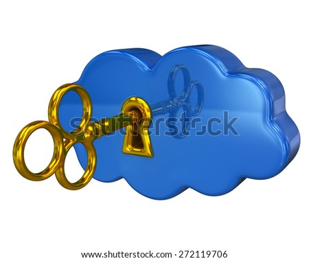 Golden key and blue cloud isolated on white background - stock photo