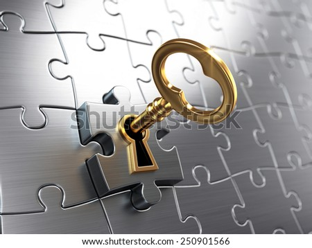 Golden key and puzzle  - stock photo